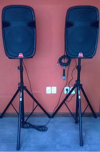 alquiler de equipos de amplificación, parlantes, micrófono.