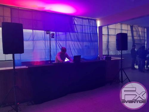alquiler de equipos de sonido, luces, dj, salas lounge fx