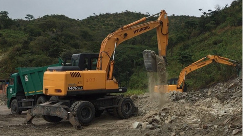 alquiler de excavador jumbo de ruedas hyundai 140w7