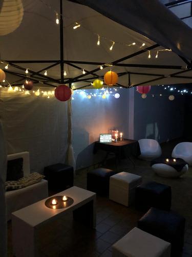 alquiler de gazebo+puff+mesa puente+sillón+iluminación inter
