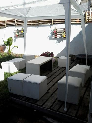alquiler de  juego de living,  puffs, gazebos,  mesas, silla