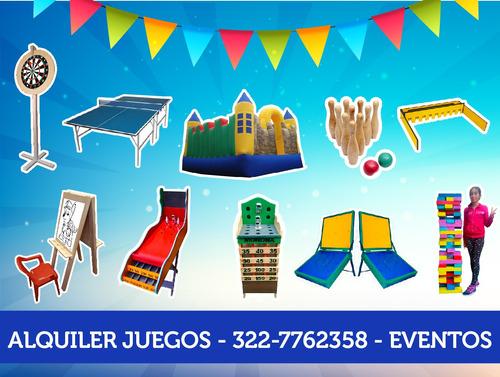 alquiler de juegos fiestas, eventos,mesas, feria, infantiles