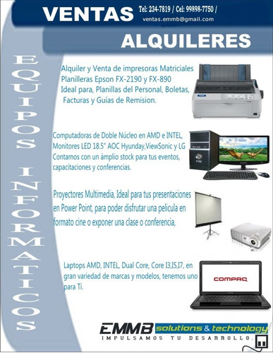 alquiler de laptops, computadoras, proyector e impresoras