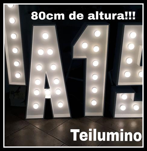 alquiler de letras luminosas 80cm de alto de madera blanca!!