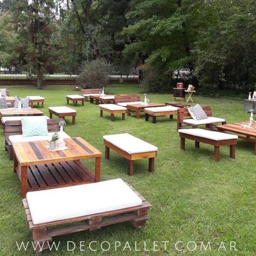alquiler de living de madera, barras, banquetas, sillas
