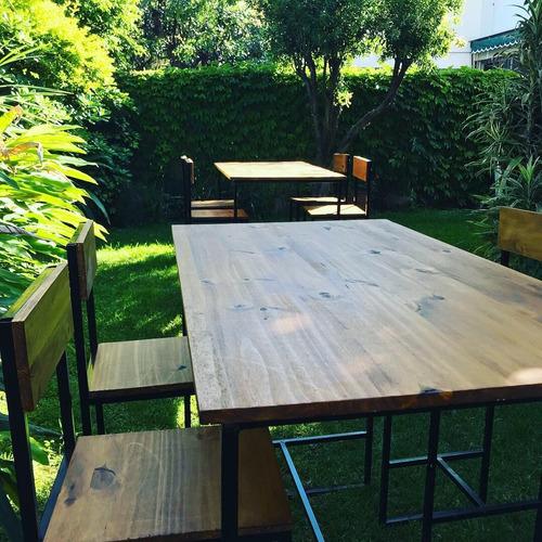 alquiler de living de madera rústicos mesas altas banquetas