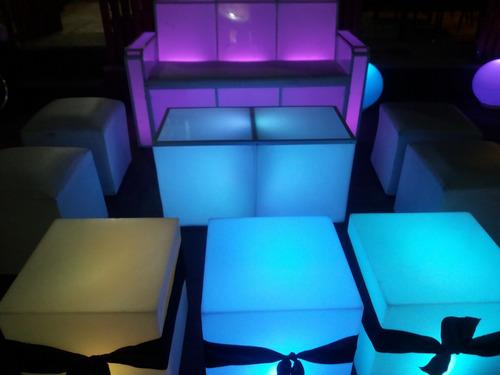 alquiler de living luminosos! mesas, puff, esferas/ myh led