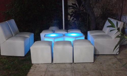 alquiler de living luminosos/mesas,puff,barras myh led