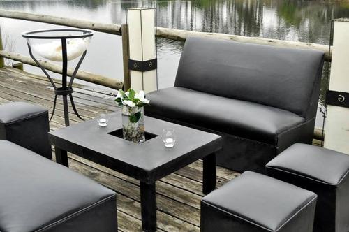 alquiler de livings mesas calefacción puffs muebles carpas