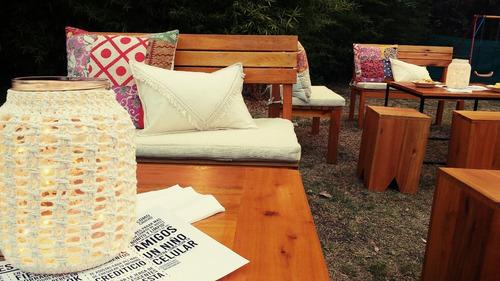 alquiler de livings para eventos, mobiliario , hierro madera