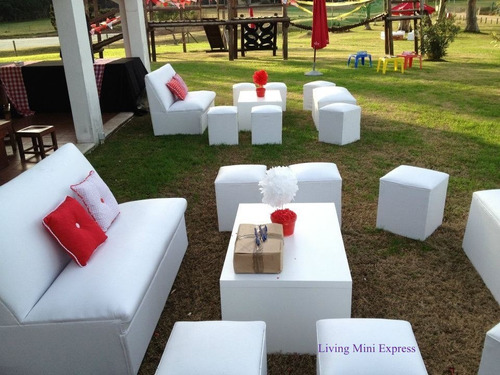 alquiler de livings, puff, butacones mini puff, eventos
