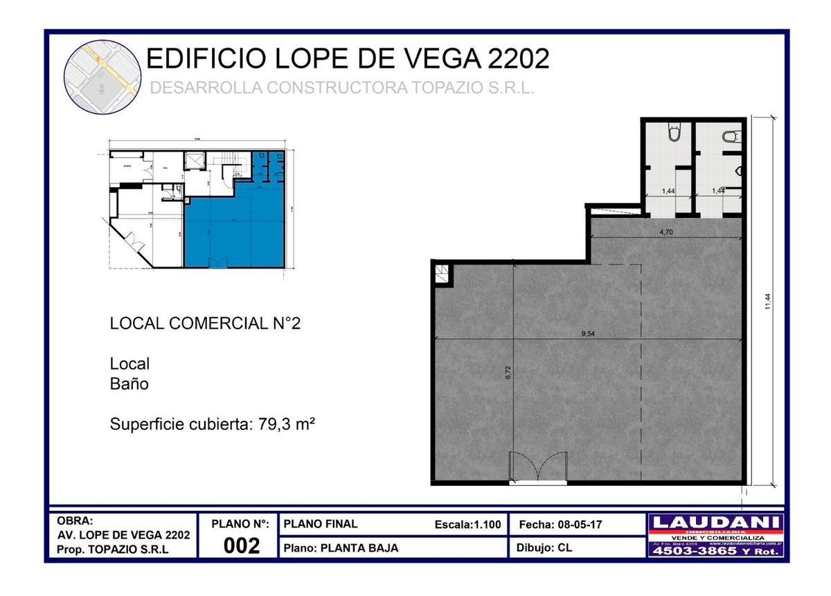 alquiler de local a est. de 125 m2. s/avda. en villa devoto