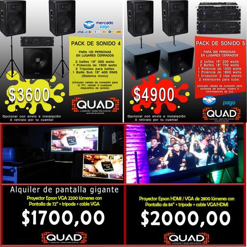 alquiler de luces bafle sonido pantalla humo karaoke equipos