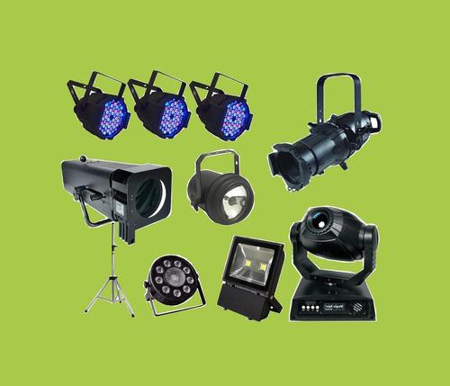 alquiler de luces dj tachos led cabezal móvil negra flash