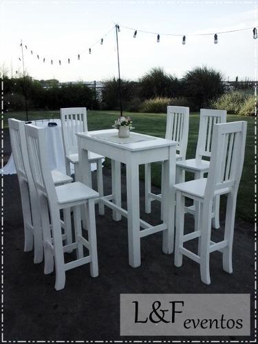 alquiler de mesas altas y taburetes! sillas hierro - mimbre
