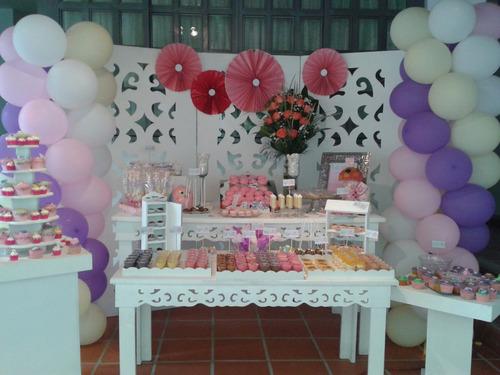 alquiler de mesas para candy bar, decoraciones temáticas...