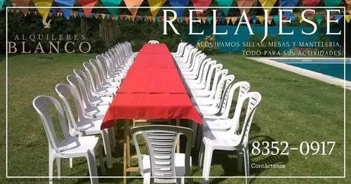 alquiler de mesas, sillas, manteleria y chafing dish