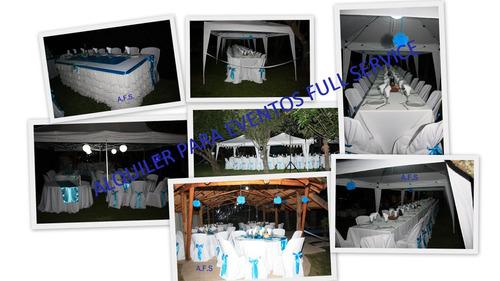 alquiler de mesas, sillas, manteles, vajillas y más.....