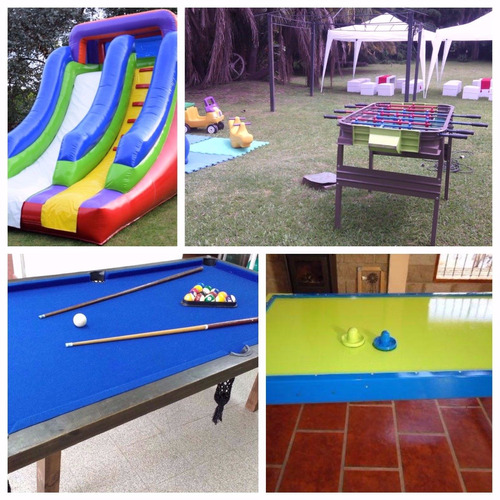 alquiler de mini living, puff, inflables, metegol, pool.