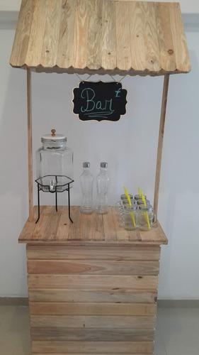 alquiler de mobiliario palets. candy bar, estación bebidas