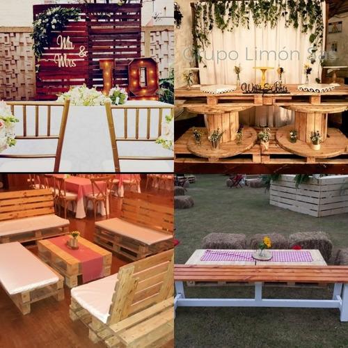 alquiler de mobiliario rústico, industrial, picnic.