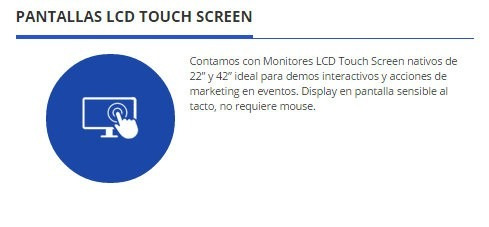 alquiler de monitor lcd touch screen de 42  - 46