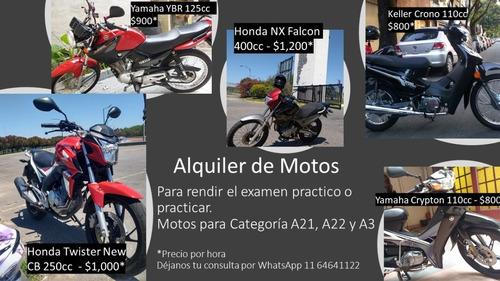 alquiler de motos para rendir examen practico a21, a22 y a3