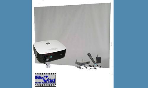 alquiler de pantalla  y proyector. sonido. fotos y video
