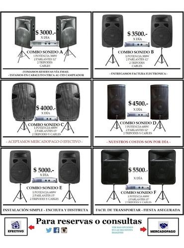 alquiler de parlantes sublow activo luces micrófono sonido