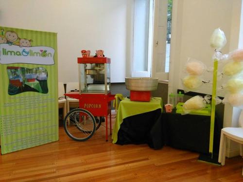 alquiler de pochoclera, maquina de copos de azúcar y waflera