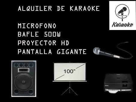 alquiler de proyector-pantalla gigante-luces-karaoke- living