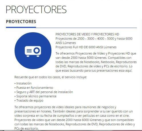 alquiler de proyectores de 3000- 4000- 5000 - 7500 lumenes