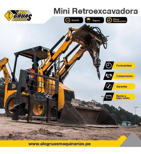 alquiler de retroexcavadora, excavadora y rodillo compactado