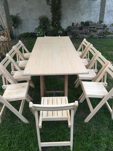 alquiler de sillas de madera , plegables, mesas,