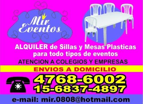 alquiler de sillas, mesas plasticas,vajilla,mini living