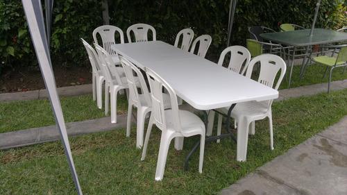 alquiler de sillas y mesas de plástico - delivery :987736949