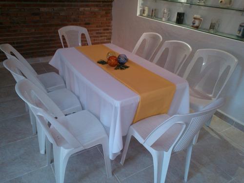 alquiler de sillas y mesas de pvc, living, estufas hongo