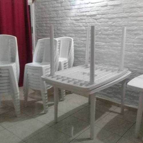 alquiler de sillas, y mesas de pvc, vajilla y manteleria