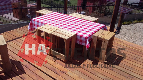 alquiler de sillas y mesas en madera rustica