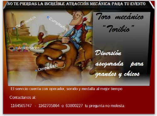 alquiler de toro mecánico  toribio  y alquiler de metegol