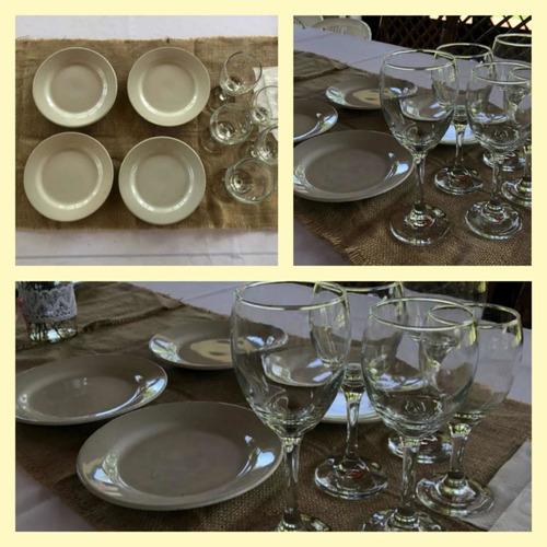 alquiler de vajilla 2 x 1 (copas /vasos/platos y cubiertos