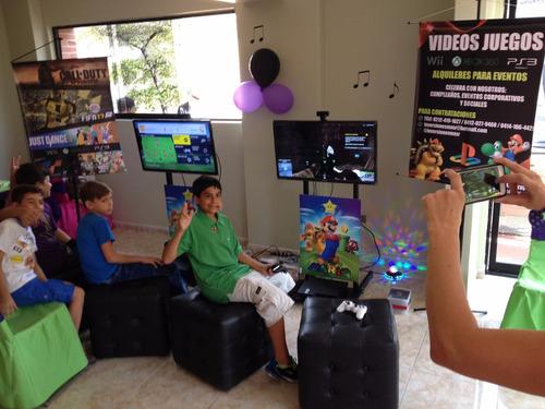 alquiler de videos juegos, video beam para eventos