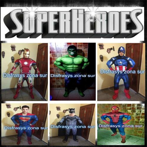 alquiler disfraz super héroes+personajes y cabezones grande