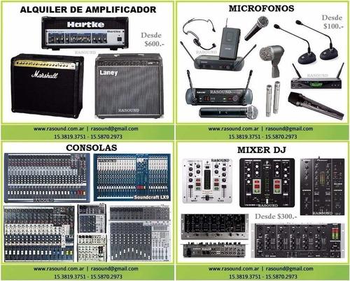 alquiler equipos de audio parlante  micrófono mixer consola