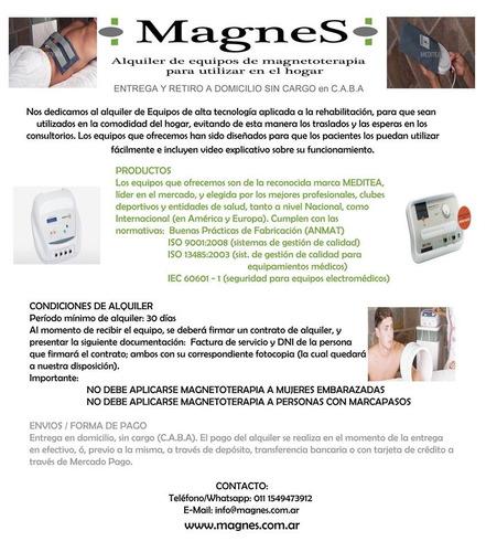 alquiler equipos magnetoterapia meditea por 30 días magnes