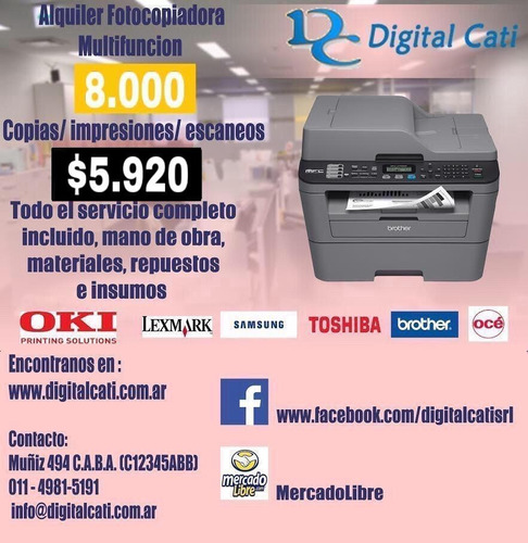 alquiler fotocopiadora multifuncion 3500 copias incluidas!!!