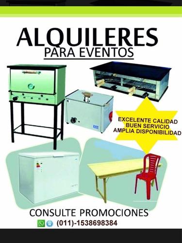 alquiler freezer, horno, mesas, sillas, anafes, pancheras