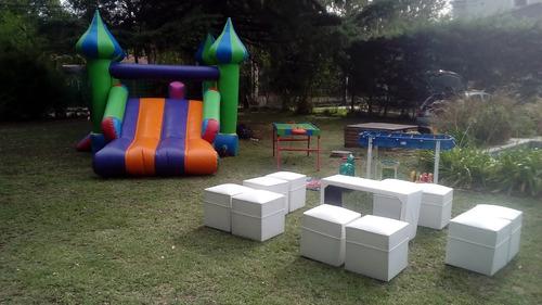 alquiler inflable plaza blanda pelotero metegol livings puff