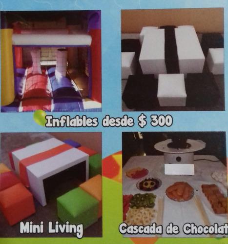 alquiler inflables-  mini living- cama elastica- cascadas