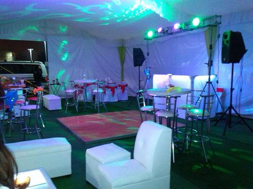 alquiler jc renta carpa roof garden sillas lounge periqueras